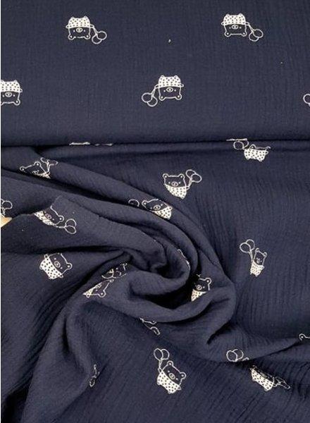 marineblauw beertje - tetra stof