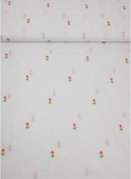 wit - geborduurde neon bloemen op katoen voile