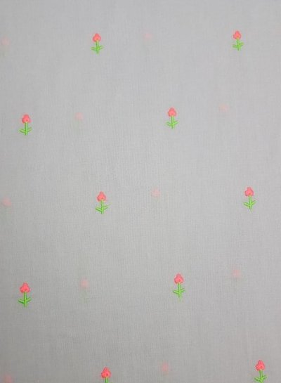 grijs - geborduurde neon bloemen op katoen voile