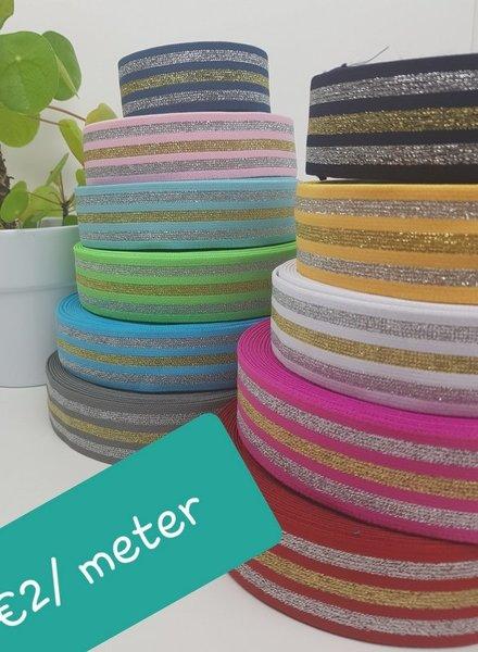 Gestreept glitter  - taille-elastiek