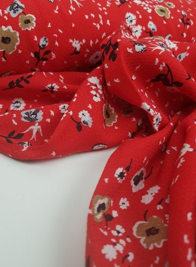 red flower - viscose - Italian quality