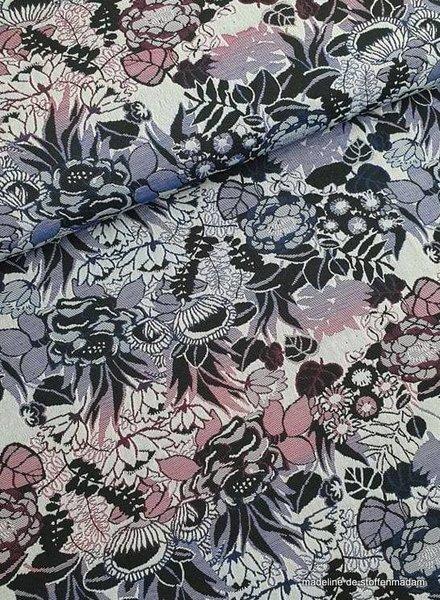 paarse bloemen geweven jacquard