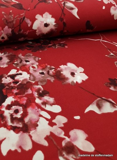 marsala watercolor flowers - scuba crepe