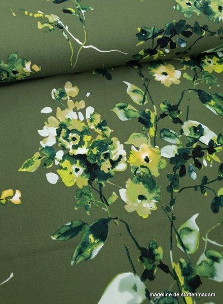 green watercolor flowers - scuba crepe