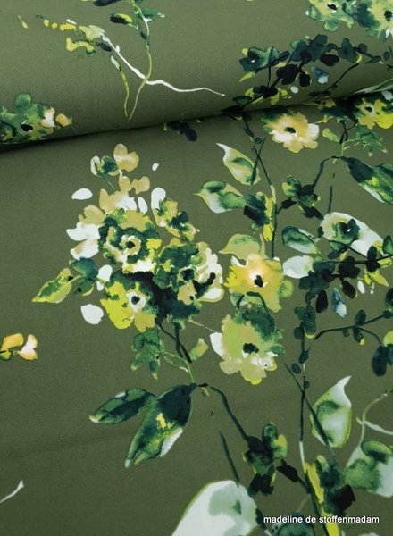 groen watercolor flowers - scuba crepe