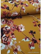ochre watercolor flowers - scuba crepe