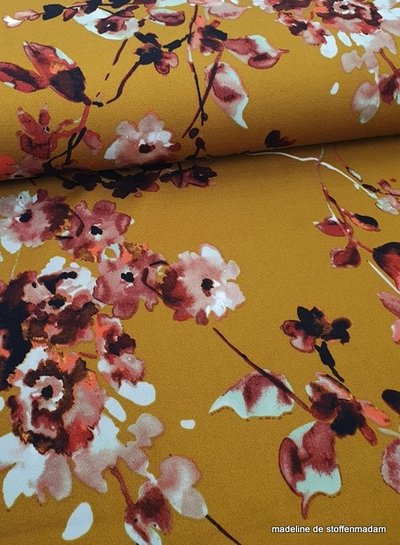 ochre watercolor flowers - scuba crepe