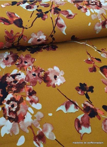 oker watercolor flowers - scuba crepe