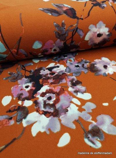 rusty watercolor flowers - scuba crepe