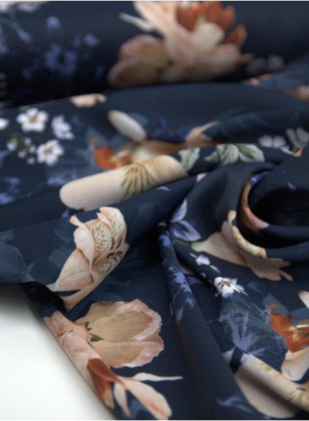 fresh flowers navy - soepelvallende stof
