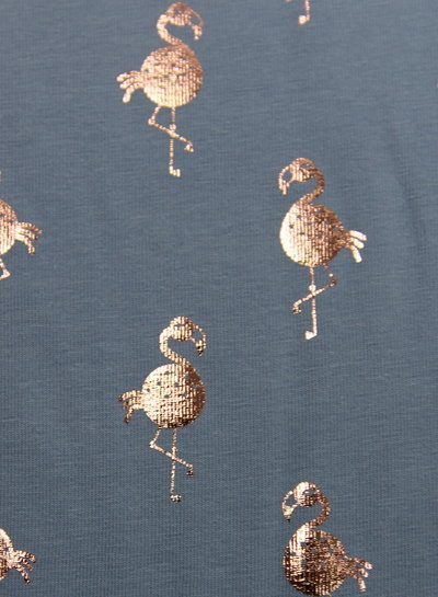 flamingo foil blauw - tricot