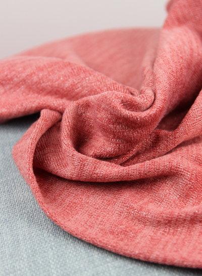 gebreide stof met lurex  - roze