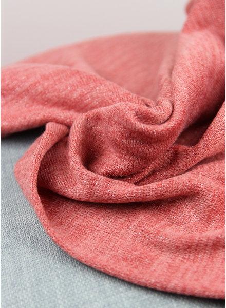 gebreide stof met lurex  - pink