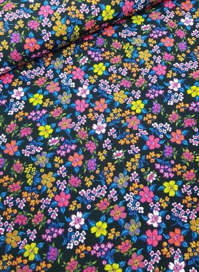 bloemetjes blauw  - viscose poplin