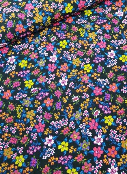 flowers blue  - viscose poplin