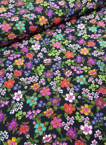 flowers green  - viscose poplin