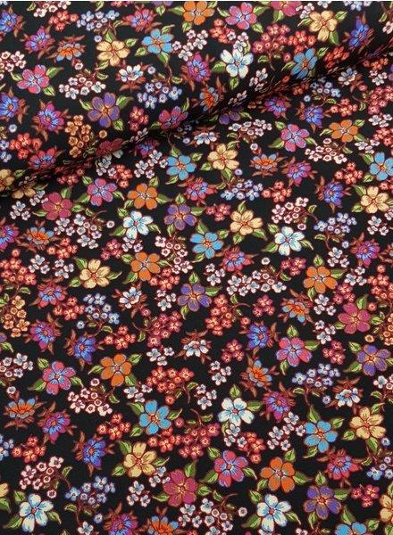flowers coral  - viscose poplin