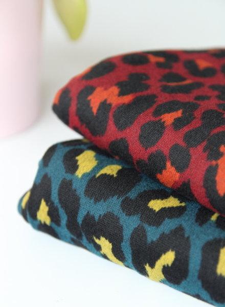 petrol leopard - knitted jersey