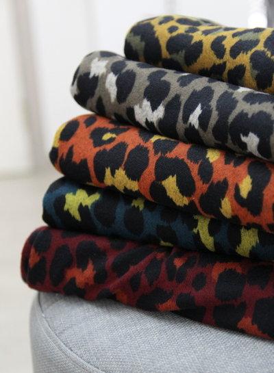 marsala leopard - gebreide stof