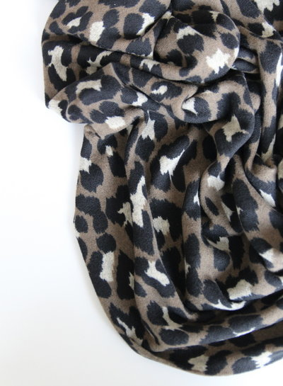 taupe leopard - gebreide stof
