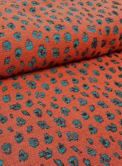 shining leopard roest - geweven jacquard