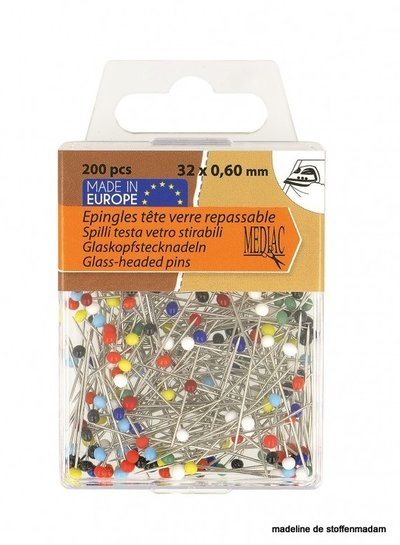 glass-headed pins 200 pieces