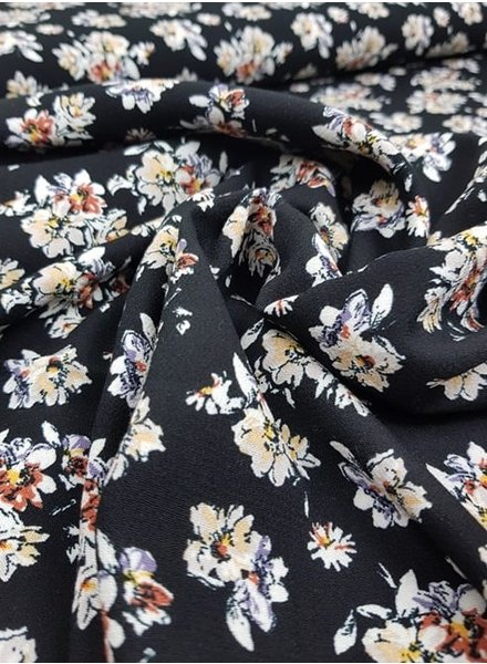 flowers black - viscose
