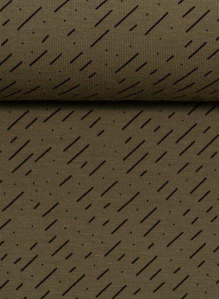 khaki diagonal stripes - tricot