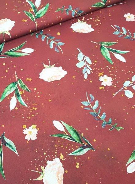 Kim's flowers marsala - cotton
