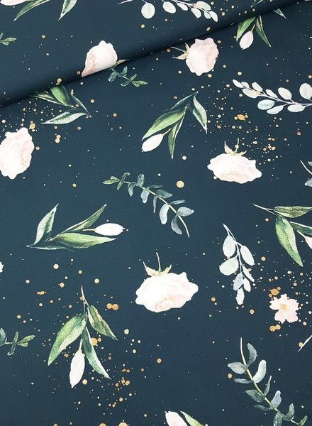 Kim's flowers navy- cotton