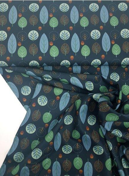 autumn leaves blauw - katoen