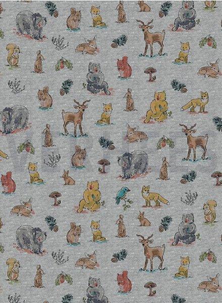 forest animals grijs -  tricot