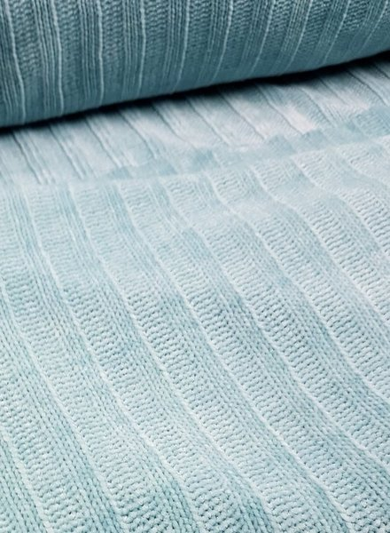 mintblauw - superzachte gebreide stof