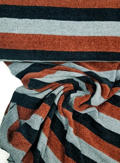 stripes stone - Chenille - super soft fabric