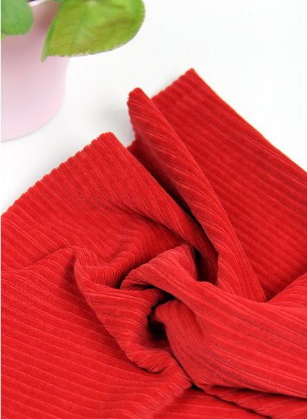 rood - rekbare corduroy - 100% katoen