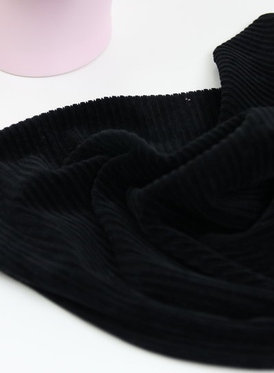 black - stretch corduroy - 100% cotton