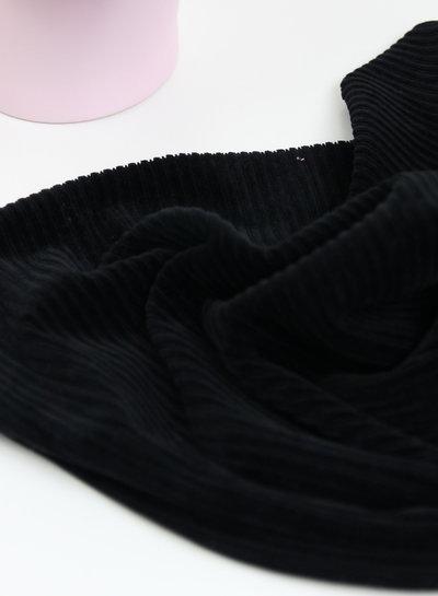 zwart - rekbare corduroy - 100% katoen