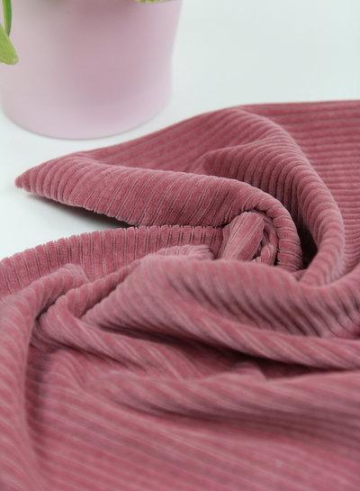 oud roze - rekbare corduroy