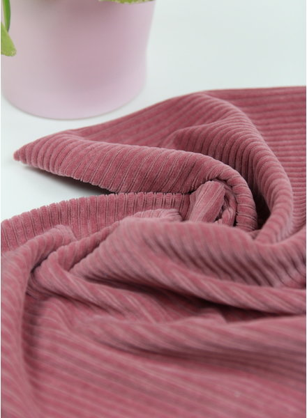 oud roze - rekbare corduroy - 100% katoen