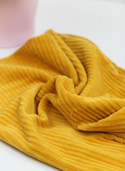 ocre - stretch corduroy - 100% cotton