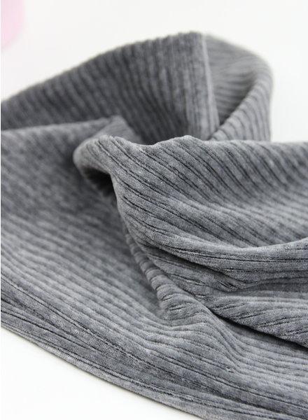 donker grijs - rekbare corduroy - 100% katoen