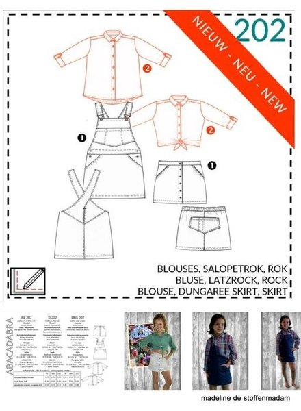 abacadabra - 202 - blouse, dungaree skirt, skirt