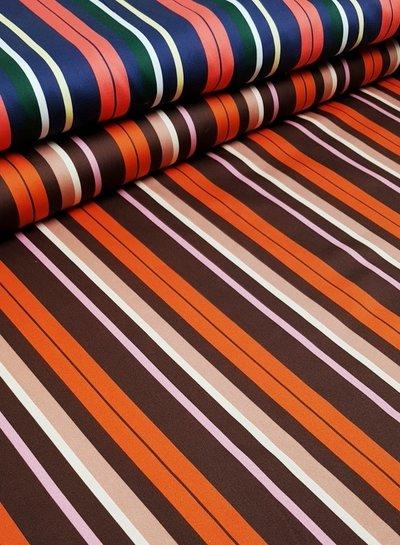 winter stripes coral - stretch cotton