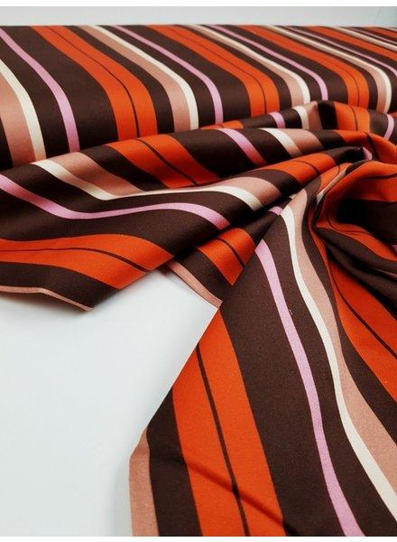 winter strepen oranje -  stretch katoen