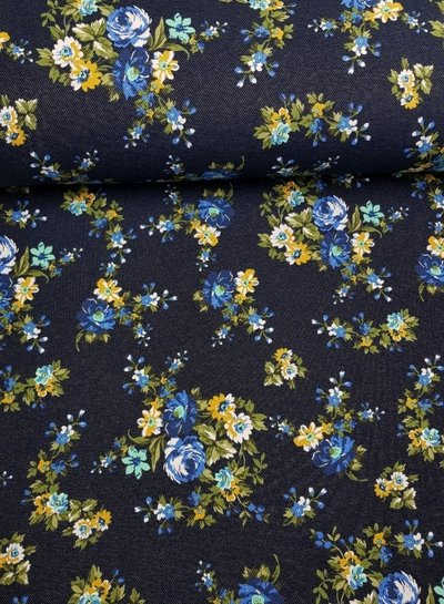 little flowers denim - happy fleece