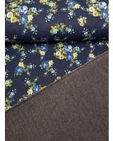 kleine bloemen denim - happy fleece