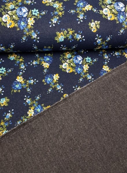 little flowers denim - happy fleece