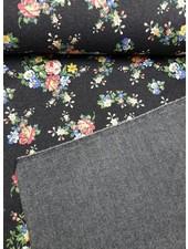 little flowers black denim - happy fleece