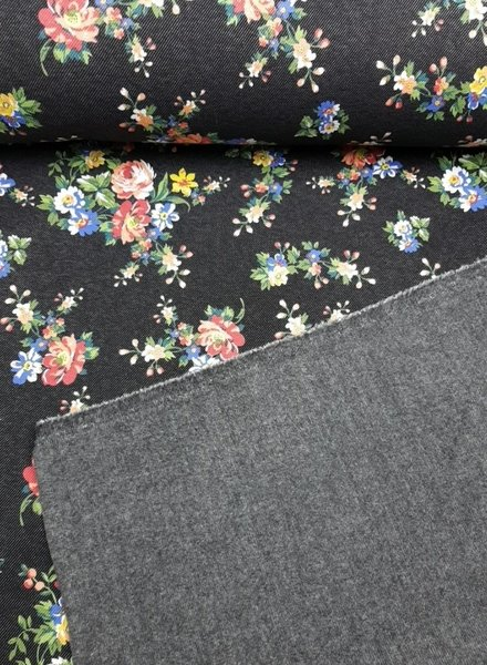 little flowers black denim - happy fleece