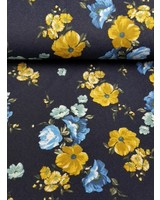 big flowers denim - happy fleece